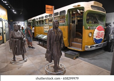 Memphis, TN, USA - June 9, 2017: Bus display at Rosa Parks exhibit as part of the National Civil Rights Museum and the site of the Assassination of Dr. Martin Luther King Jr.