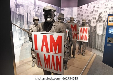 """Memphis, TN, USA - June 9, 2017: Display """"I Am A Man"""" inside the National Civil Rights Museum and the site of the Assassination of Dr. Martin Luther King Jr."""