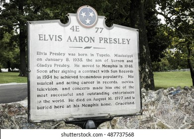 MEMPHIS, TN, USA: OCTOBER 11, 2006: A sign in front of Elvis Presley's Graceland shows the impact the late singer had on Memphis.