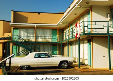 Memphis, TN, USA September 3, 2008 A vintage Cadillac is parked under floral wreath, marking the site of the Martin Luther King assassination at the Lorraine Motel in Memphis, Tennessee