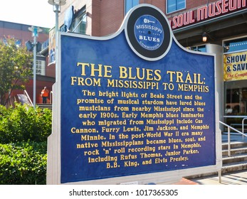 Memphis, TN/USA - Sep. 21, 2017: Blues Trail Marker, describing the history of Blues music from Mississippi to Memphis.