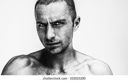 men art portrait black and white