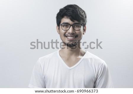 9eee611c09 Men Asian Wear Glasses Smile Men Stock Photo (Edit Now) 690966373 ...