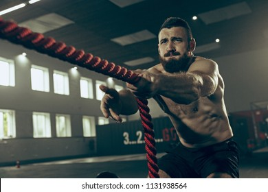 Men with battle rope battle ropes exercise in the fitness gym. CrossFit concept. gym, sport, rope, training, athlete, workout, exercises concept