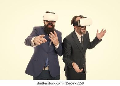 Men bearded formal suits. Digital technologies. Business innovation. Vr presentation. Men vr glasses modern technology white background. Team of innovators. Virtual business. Online business concept.