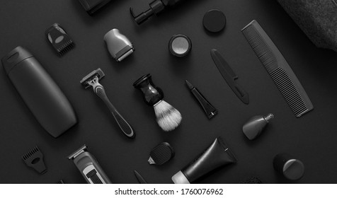 Men beauty and health concept. Various shaving and bauty care accessories placed on black background