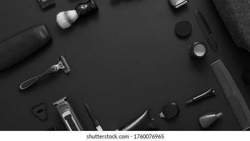 Men beauty and health concept. Various shaving and bauty care accessories placed on black background - Shutterstock ID 1760076965