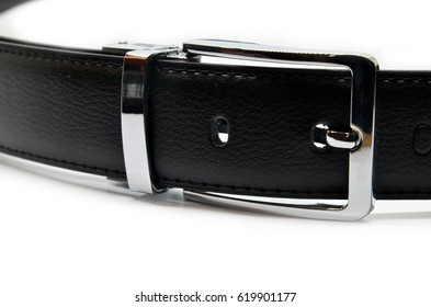 Men black belt isolated on white background