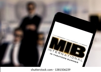 Men in Black International (MIB) logo on the mobile device. The MIB is an American action and science fiction film distributed by Columbia Pictures.