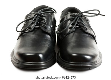 818a58351 Men black shoes with black laces over white background