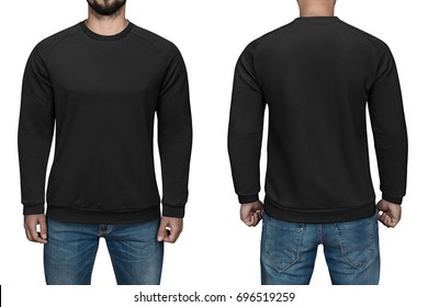 men in blank black pullover, front and back view, isolated white background. Design sweatshirt, template and mockup for print