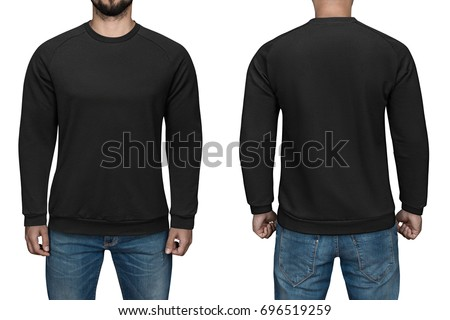 men blank black pullover front back の写真素材 今すぐ編集