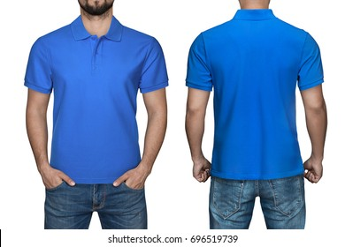 d70dbb68 men in blank blue polo shirt, front and back view, isolated white  background.