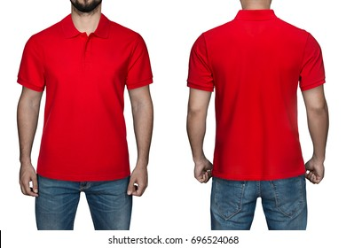 men in blank red polo shirt, front and back view, isolated white background. Design polo shirt, template and mockup for print