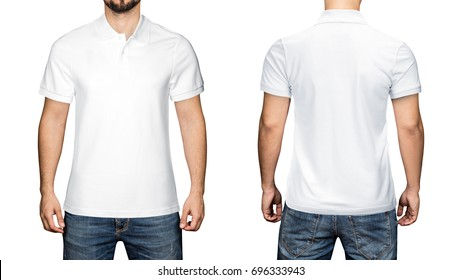 men in blank white polo shirt, front and back view, isolated white background. Design polo shirt, template and mockup for print