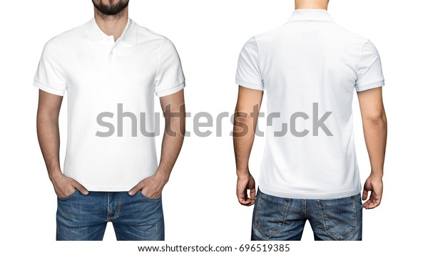 7947b7fe men in blank white polo shirt, front and back view, isolated white  background.