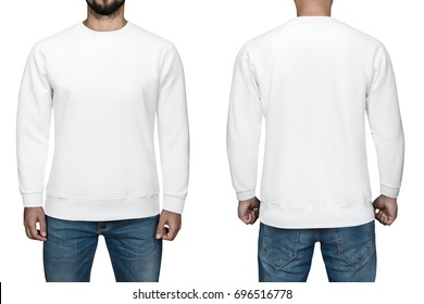 men in blank white pullover, front and back view, isolated white background. Design sweatshirt, template and mockup for print