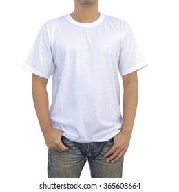 Men in a blue jeans and white T-shirt on white background