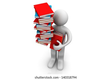 Men with books on white background. Education concept