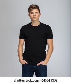 men boy student at studio black t-shirt