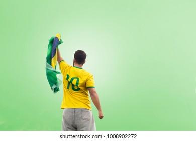 Men with brazilian flag