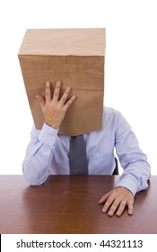 Men with a cardboard bag on his head thinking