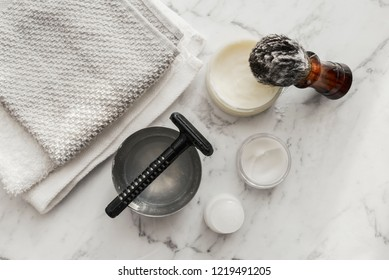 Men care beard shave equipment accessories on bright white background