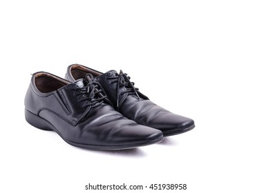 men casual black leather on white with clipping path