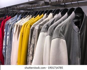 Men casual clothing shop. Men shop, men clothes in the shopping mall.