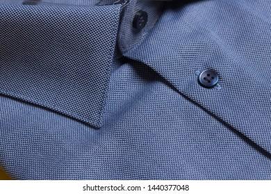 Men classic folded cotton shirt, collar detail view