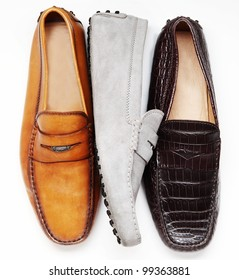 men classic shoes isolated in white background in pan