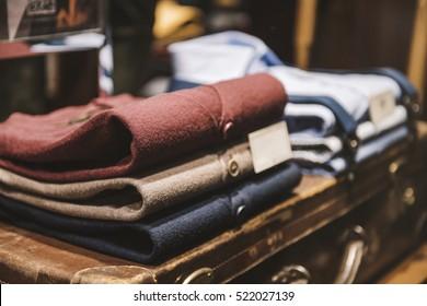 Men clothing - detail of a showcase