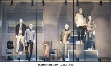Men clothing in a showcase in London.
