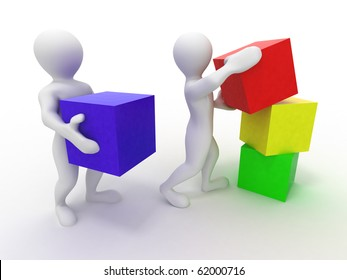 Men with cubes. Teamwork. 3d