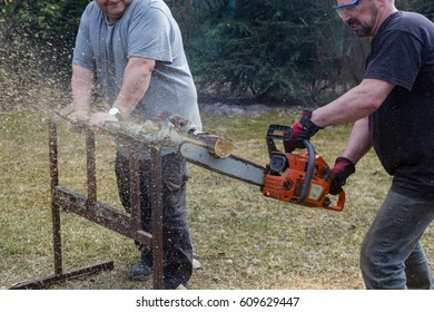 men cutting wood with a chainsaw, flying wood chips
