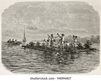 Men drinking on a raft old illustration, Brazil. Created by Riou, published on Le Tour du Monde, Paris, 1867
