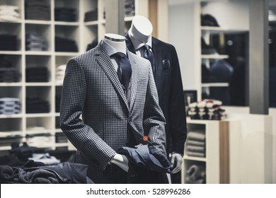 Men elegant clothing showcase