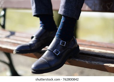 men elegant shoes with blue socks