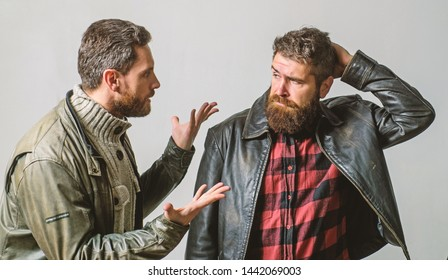 Men failed deal argue. Failure and disappointment. Disappointed partner argue. Showdown concept. Conflict and confrontation. Man argue while guy feel sorry. Fail and misunderstanding. Feel guilty.
