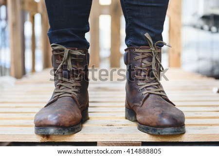 Men Fashion Brown Leather Boots Black Stock Photo Edit Now