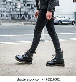 Men Black Jeans Boots Images, Stock