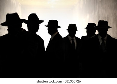 Men Fedora Hats silhouette. Security, Privacy, Surveillance Concept.