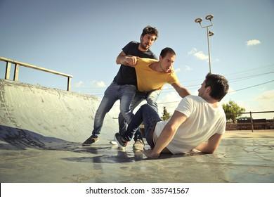 Men in a fight