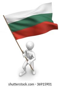 Men with flag. Bulgaria. 3d