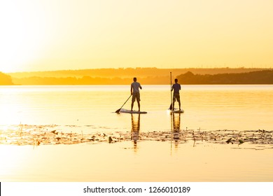 Men, friends paddling on a SUP boards on a large river during sunrise. Stand up paddle boarding - awesome active recreation in nature. Back view, backlight.