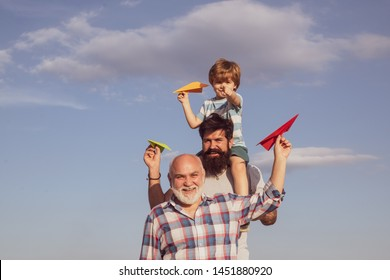 Men generation. Father and son with grandfather - happy loving family. Generation of people and stages of growing up.