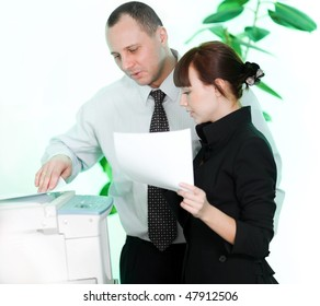 Men and girl with paper