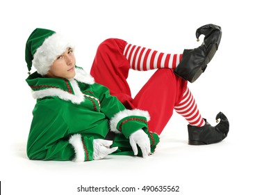 men in green clothes of elf on white background