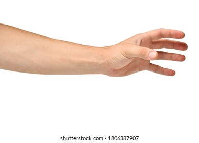 Men Hand Grasps on a White Background Isolated