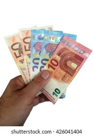 men hand holding euro bills - isolated on white
